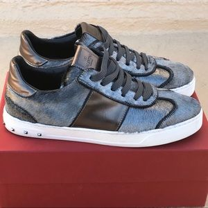 Valentino Fly Crew calf hair and leather sneakers